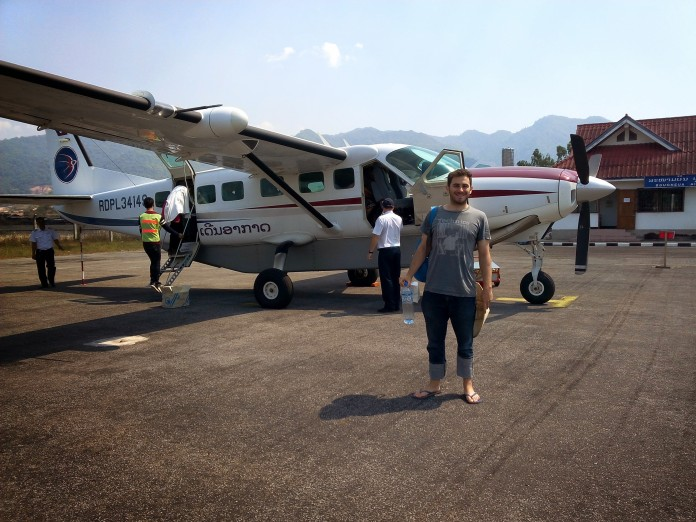 On the tarmac of the smallest airport I've ever been in Phongsaly, Laos